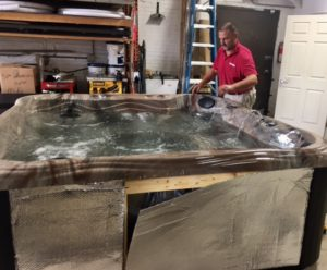 Professional hot tub service technicians of Spa Warehouse